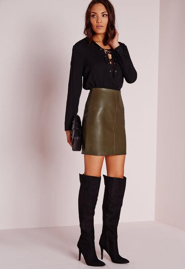 Faux Leather Mini Skirt Green | Missguided