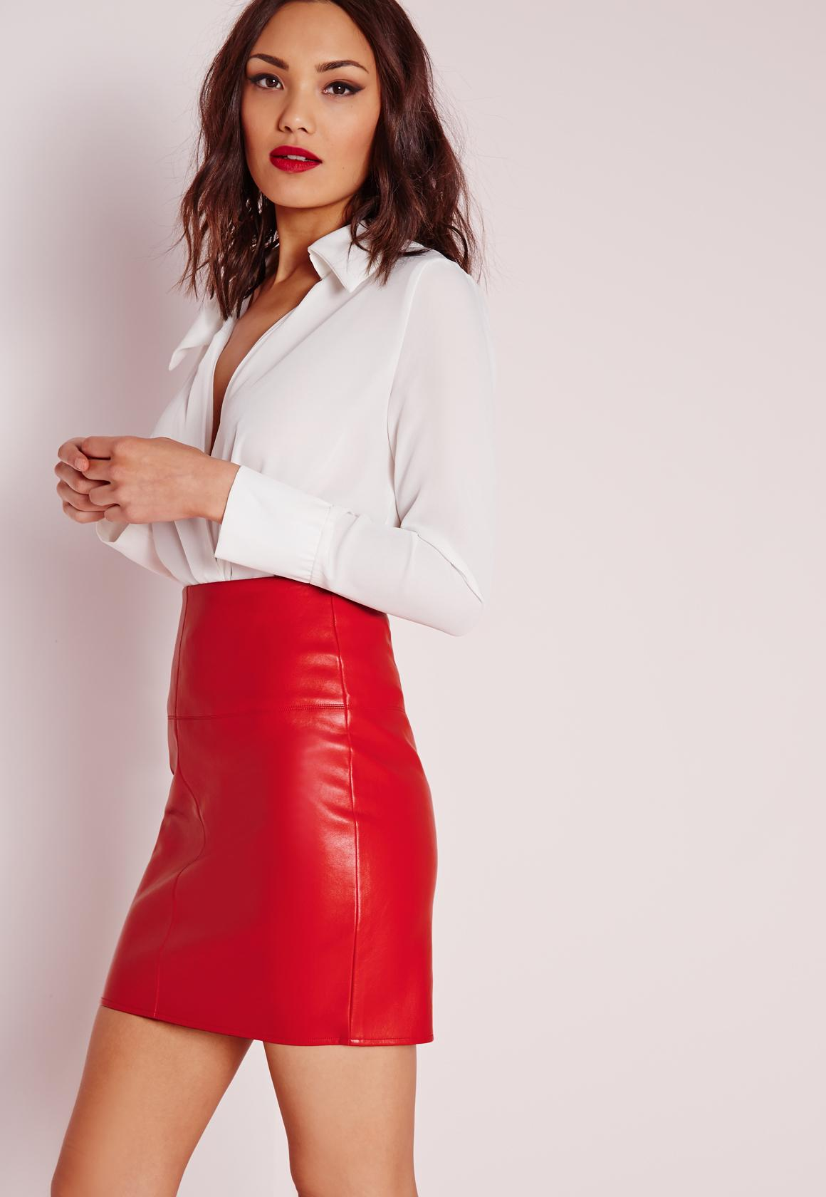 Red Faux Leather Mini Skirt