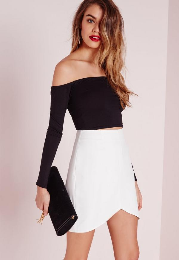 Curve Hem Mini Skirt White