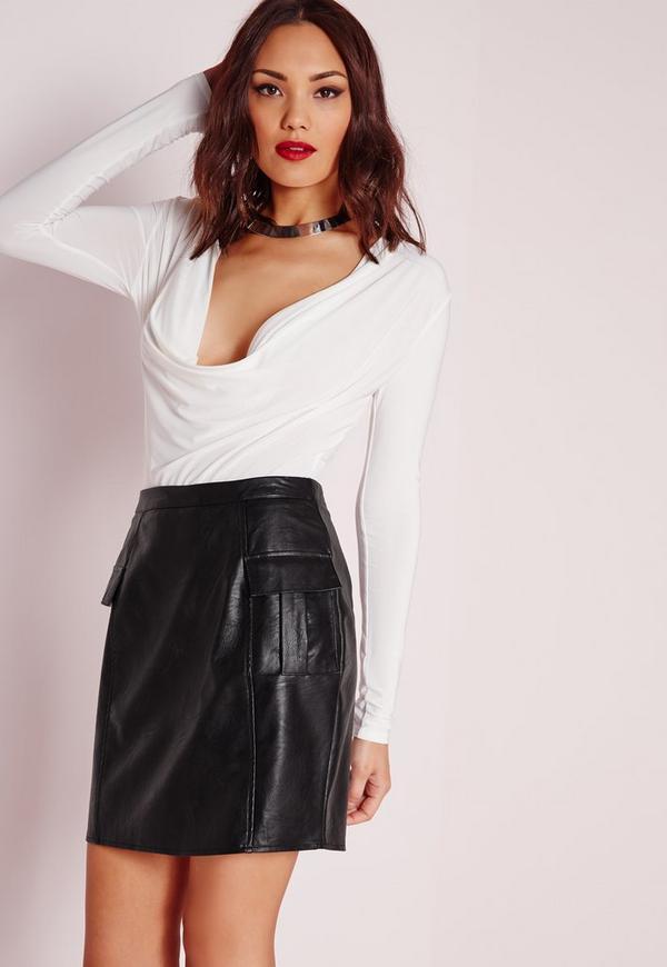 Pocket Detail Faux Leather Mini Skirt Black