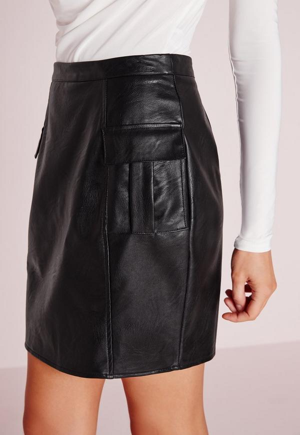 pocket detail faux leather mini skirt black missguided