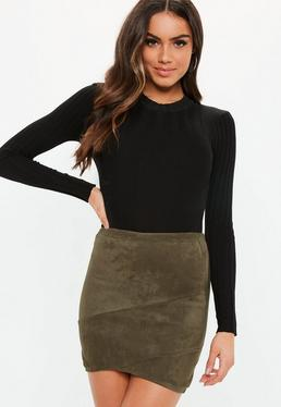 Faux Suede Wrap Mini Skirt Khaki