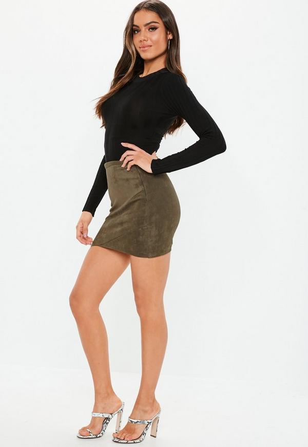 Faux Suede Wrap Mini Skirt Khaki | Missguided