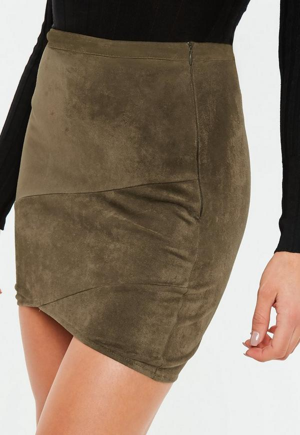 Faux Suede Wrap Mini Skirt Khaki Missguided