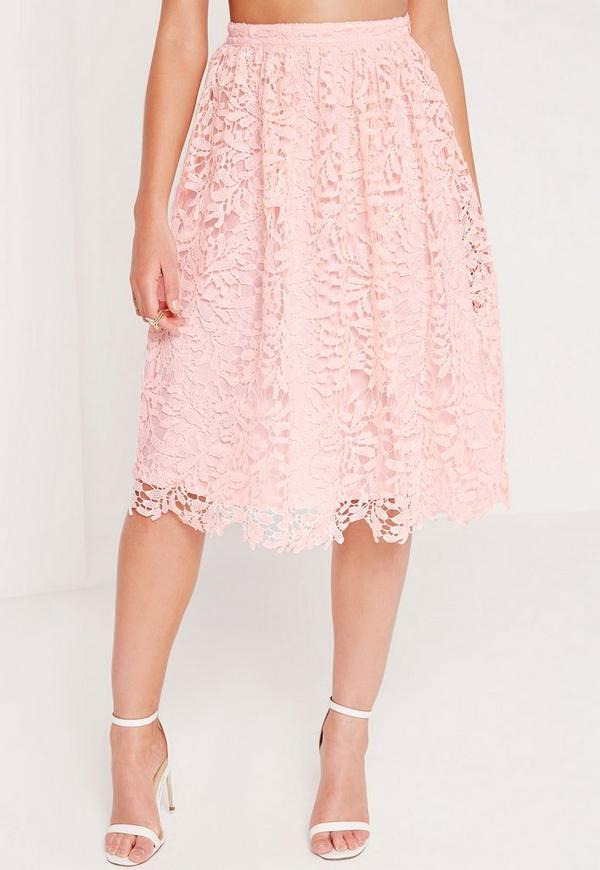 Crochet Lace Full Midi Skirt Pink - Missguided