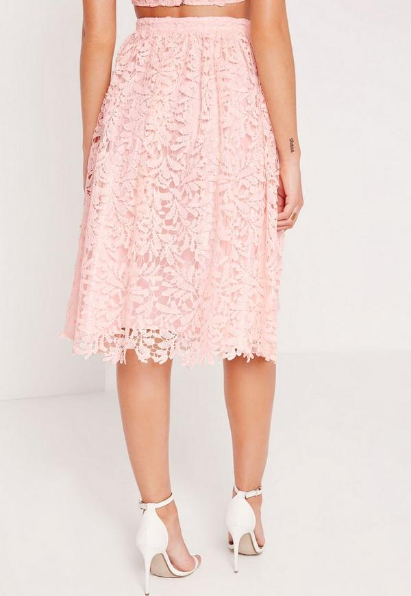 crochet lace midi skirt pink missguided