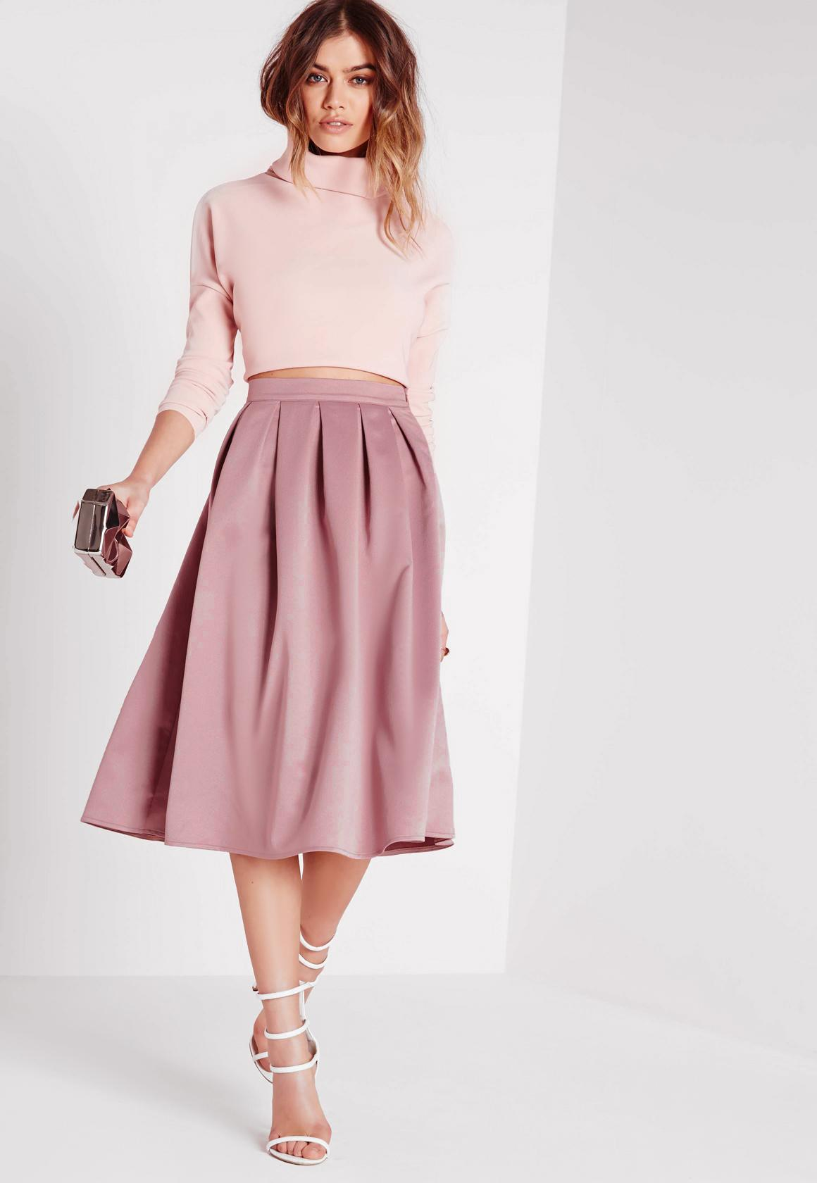 Satin Pleat Waistband Full Midi Skirt Mauve | Missguided
