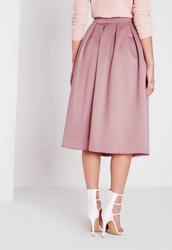 Satin Pleat Waistband Full Midi Skirt Mauve - Missguided