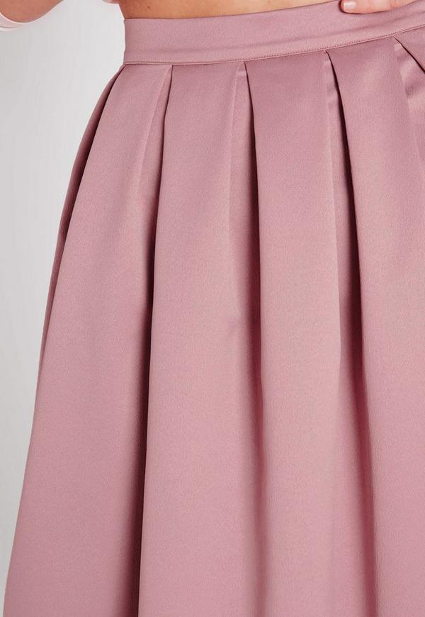 Satin Pleat Waistband Full Midi Skirt Mauve Missguided