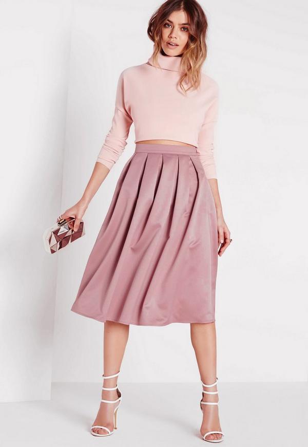 satin pleat waistband midi skirt mauve missguided