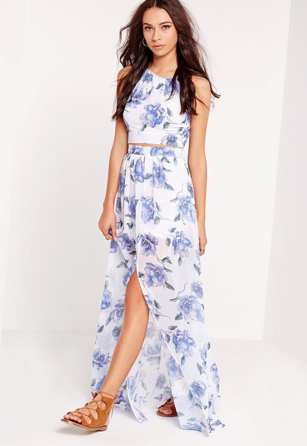 floral split maxi skirt white missguided australia