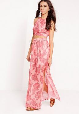 Jupe longue rose imprimé cachemire