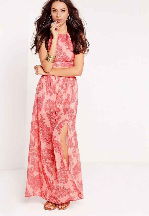 paisley print split maxi skirt pink missguided