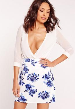 Structured Satin Floral Print Mini Skirt White