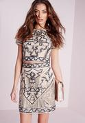 Premium Aztec Embellished Mini Skirt Nude