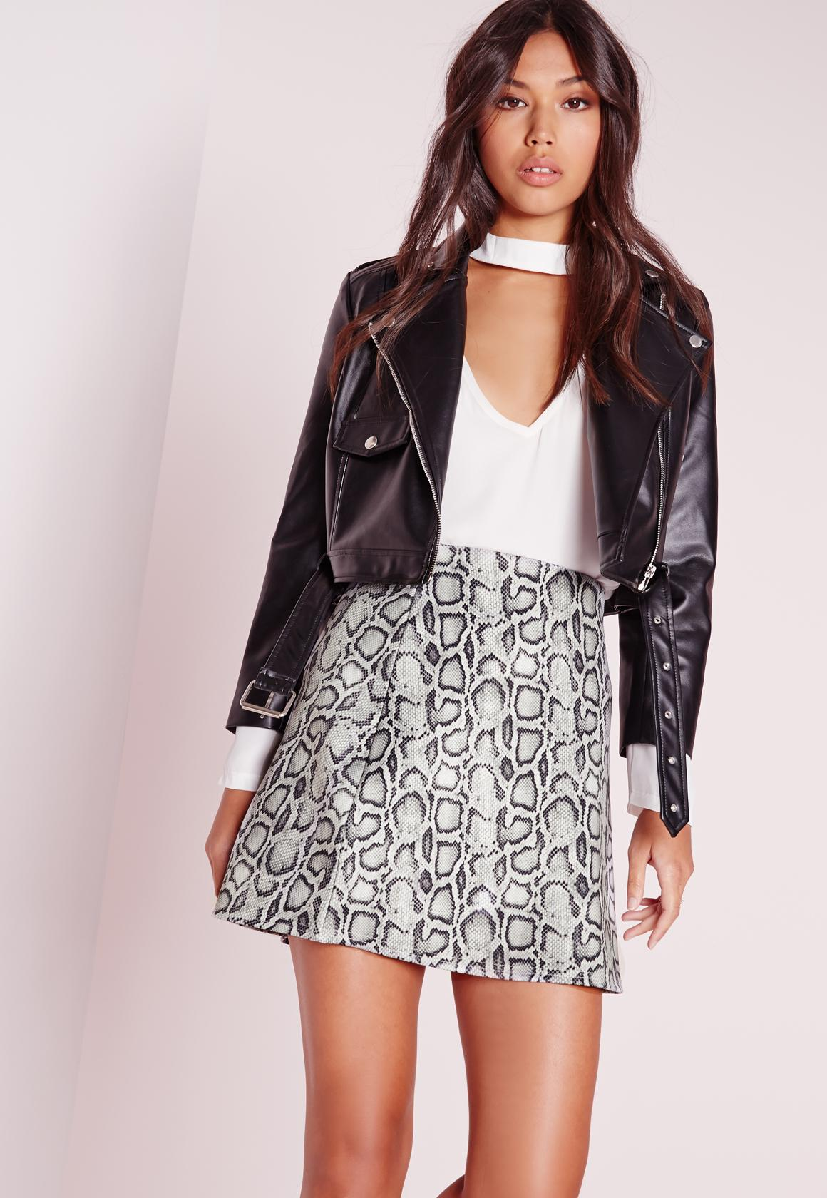 Snake Print A Line Mini Skirt Grey | Missguided