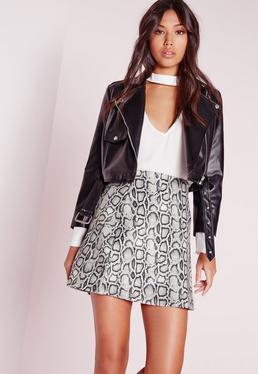 Snake Print A Line Mini Skirt Grey