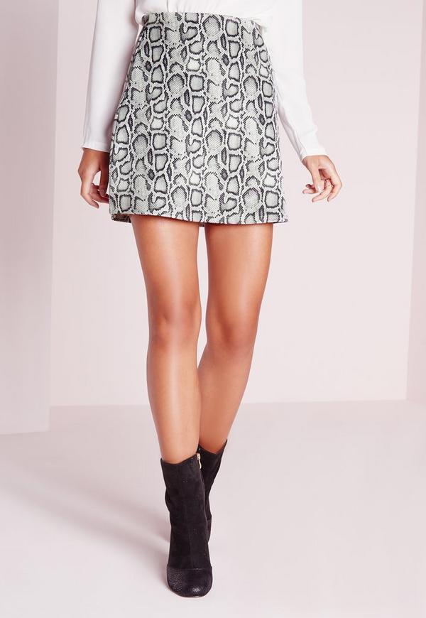 snake print a line mini skirt grey missguided