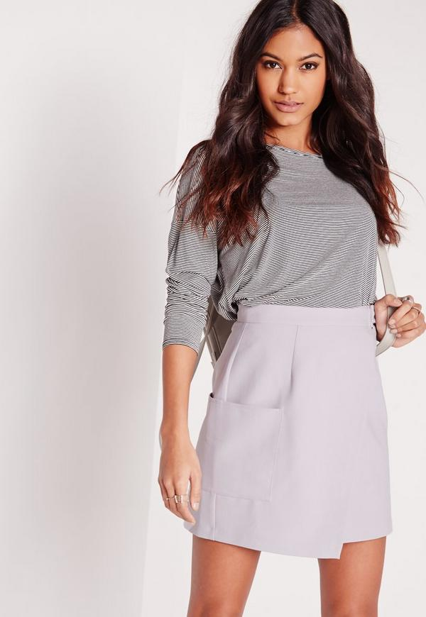 Buckle Wrap Pocket Mini Skirt Grey