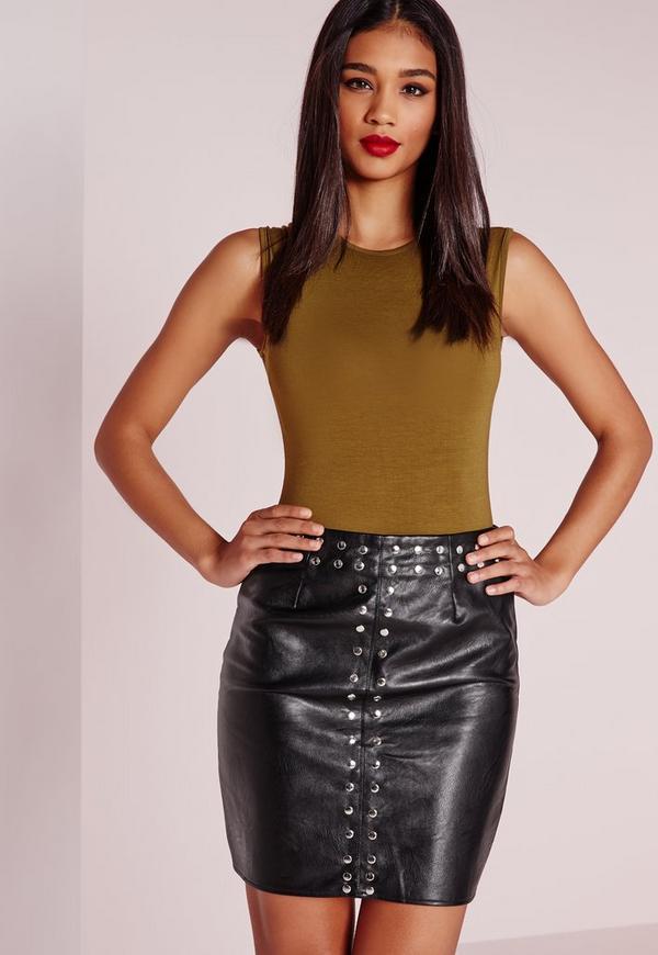 Stud Detail Faux Leather Mini Skirt Black