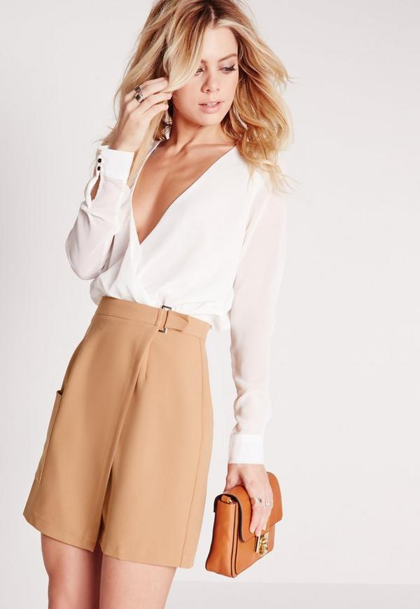 Buckle Wrap Pocket Mini Skirt Camel