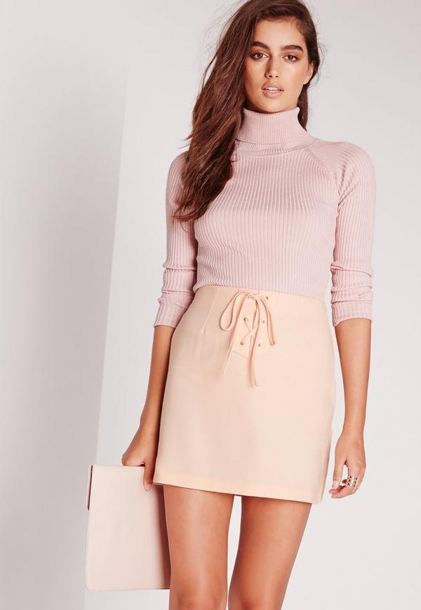 Lace Up Detail Crepe Mini Skirt Nude