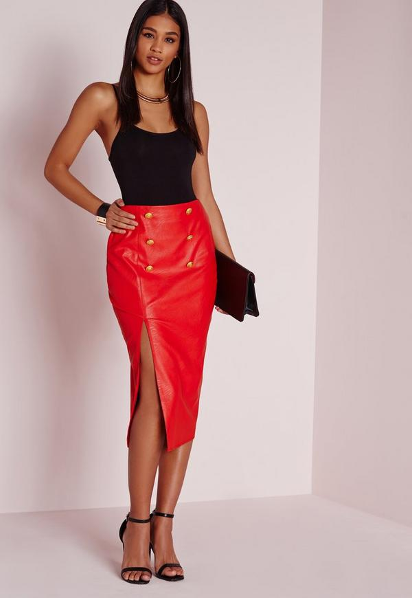 Gold Button Split Faux Leather Midi Skirt Red