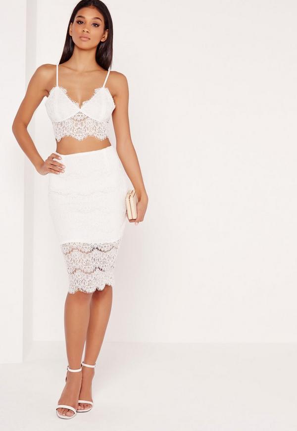 lace bodycon midi skirt white