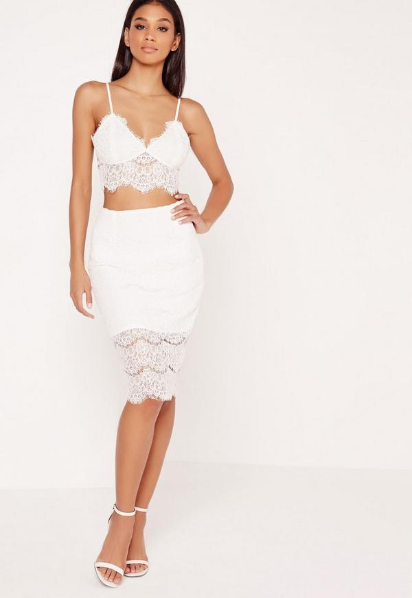 lace bodycon midi skirt white missguided