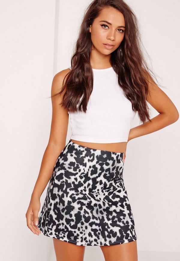 Mono Leopard Print A Line Mini Skirt Black