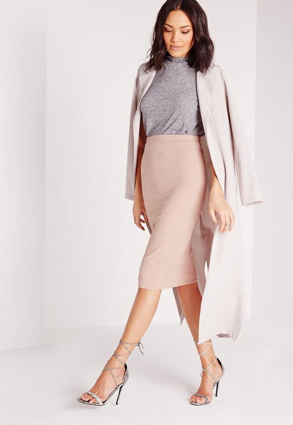 Ribbed Bodycon Midi Skirt Mauve