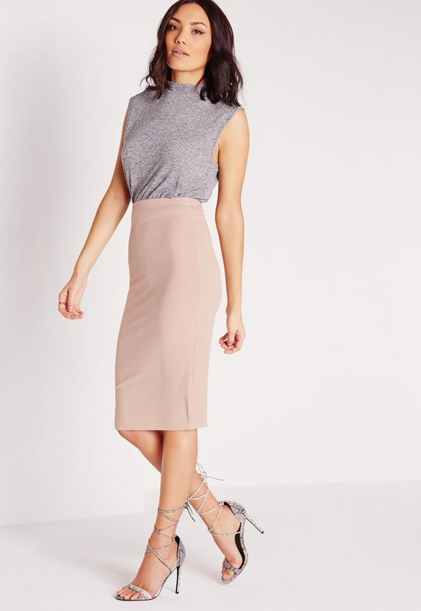 ribbed bodycon midi skirt mauve missguided