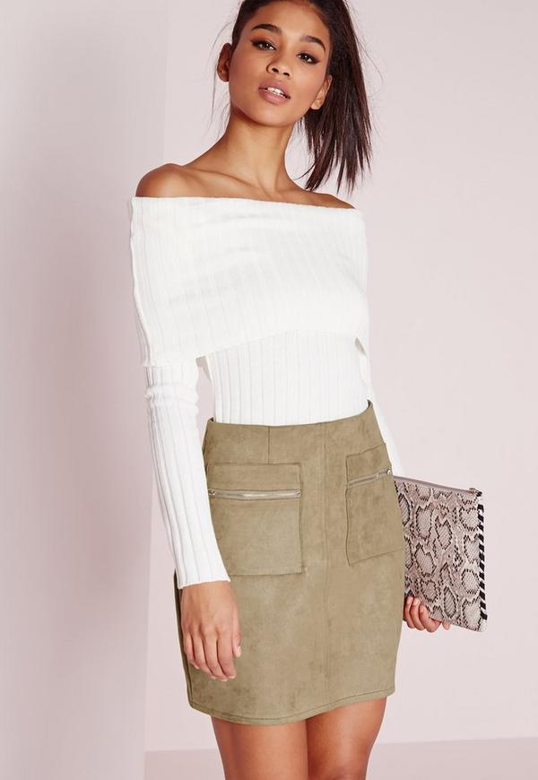 Zip Pocket Bonded Faux Suede Mini Skirt Khaki