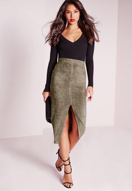 Split Front Longline Faux Suede Midi Skirt Khaki