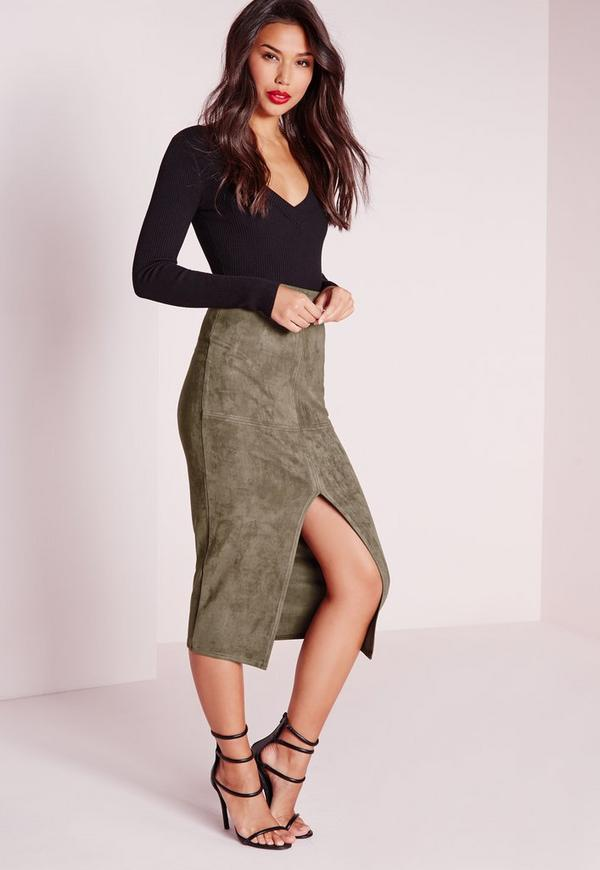 Split Front Longline Faux Suede Midi Skirt Khaki | Missguided