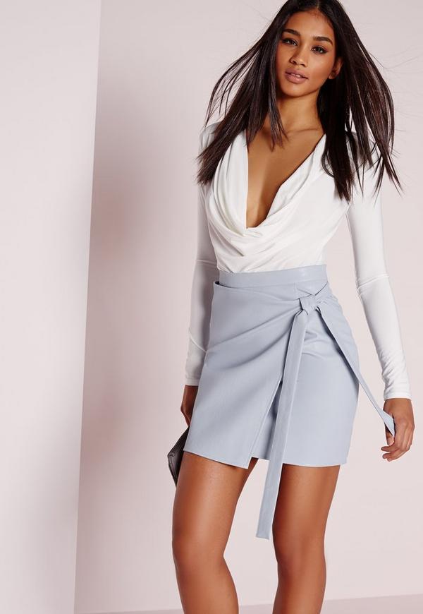 Wrap Front Faux Leather Mini Skirt Blue