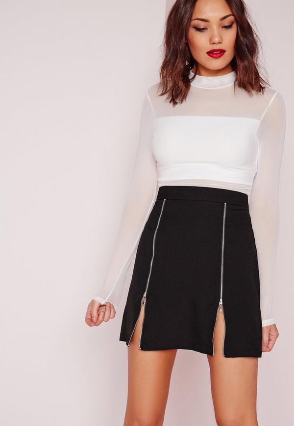 Zip Detail A Line Skirt Black