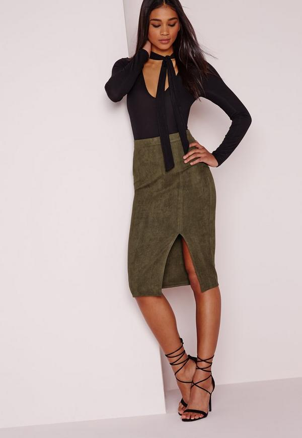 Thigh Split Faux Suede Midi Skirt Khaki
