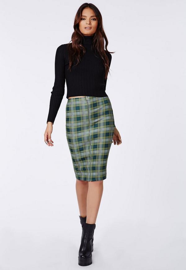 Zip Front skirt in tartan