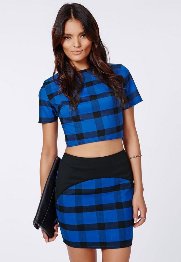 tartan check print mini skirt blue