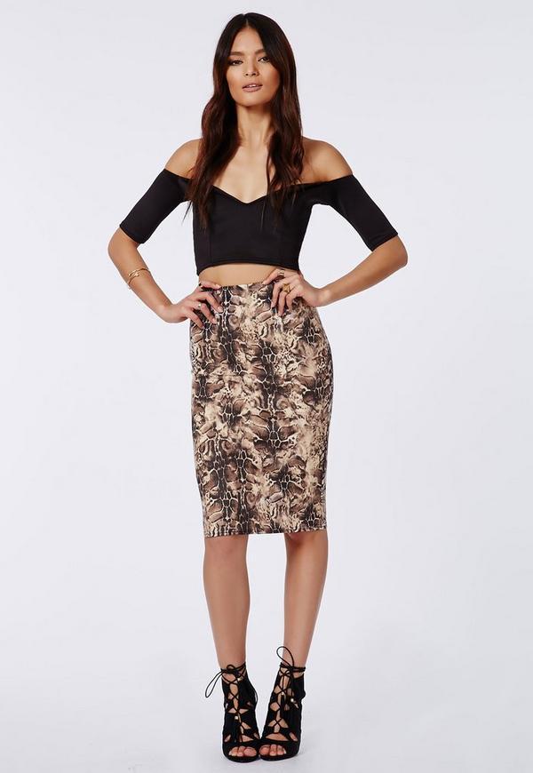 Leopard Print Scuba Midi Skirt Cream