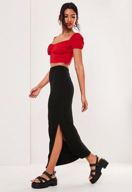 5d7aa2af603 Black Jersey Side Split Maxi Skirt