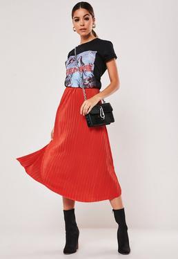 Оранжевая плиссированная юбка-миди