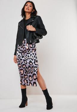 5ee79ca0a47 Lilac Leopard Print Satin Slip Midi Skirt