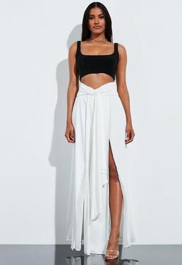 Peace + Love Кремовая атласная юбка с высокой талией и высокой талией