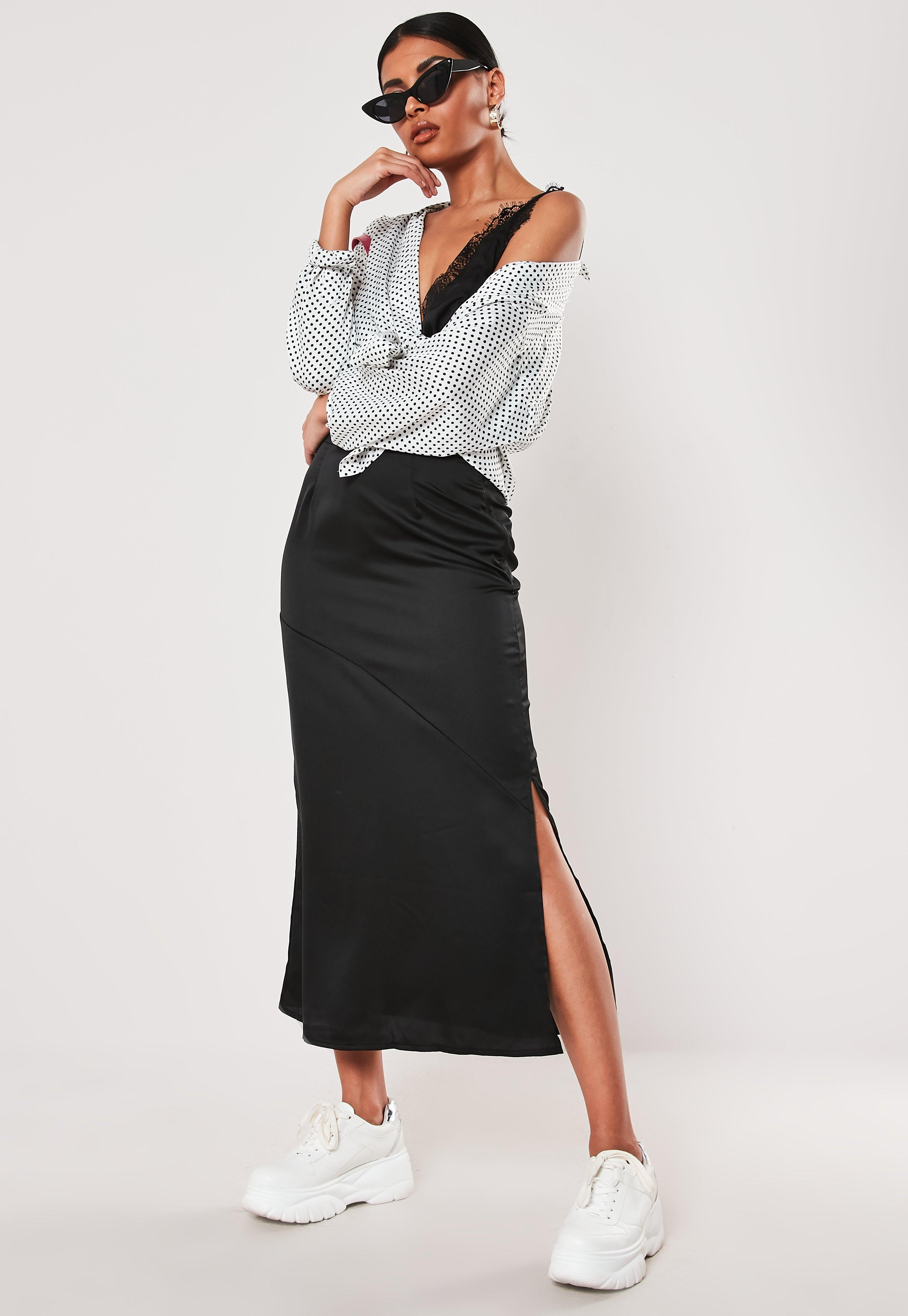 Black Satin Bias Cut Midaxi Skirt by Missguided