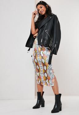 Серая неоновая атласная юбка-миди с принтом змеи