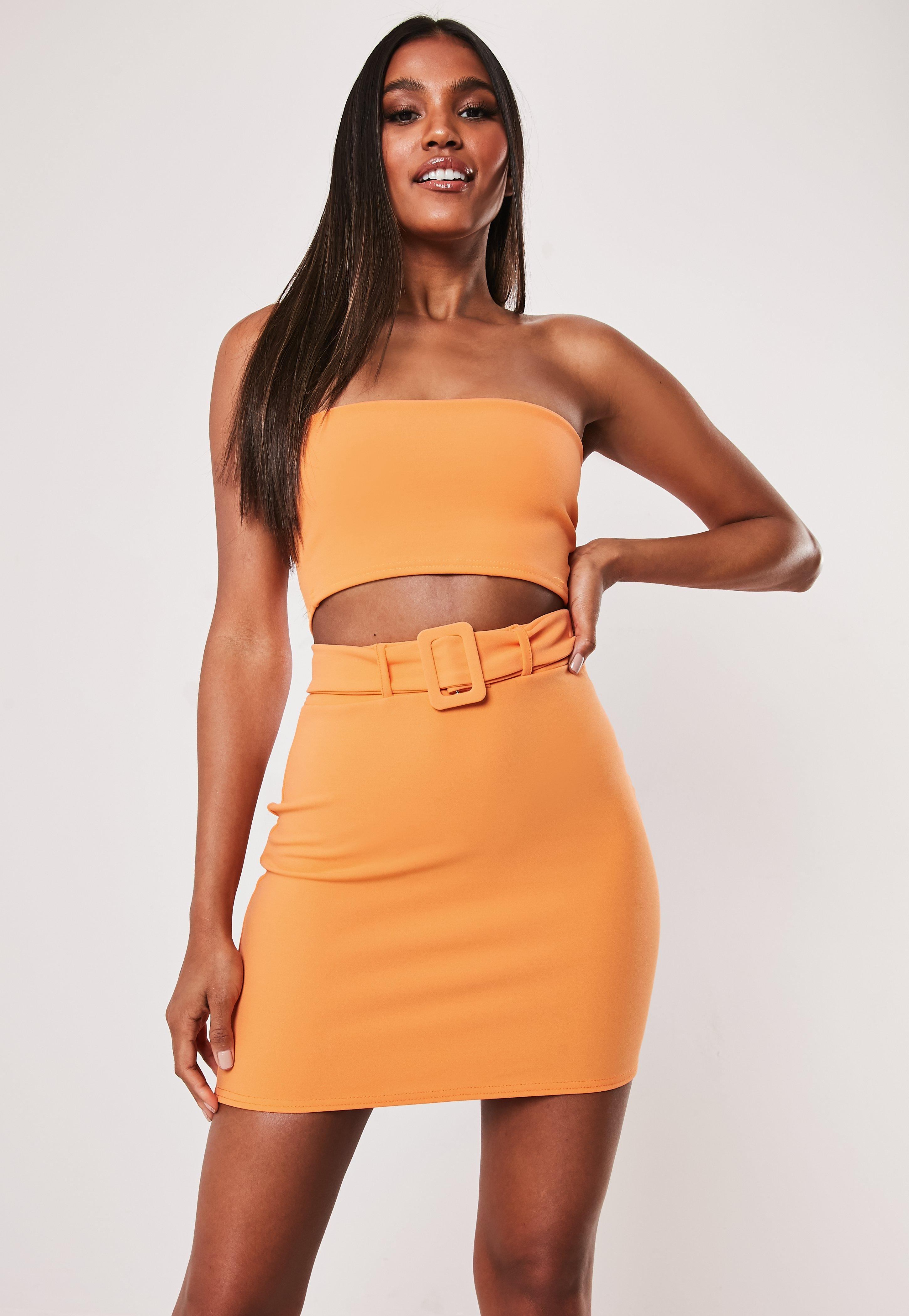 Neon Orange Co Ord Crepe Belted Mini Skirt by Missguided