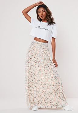 Макси-юбка с талией и цветочным принтом кремового цвета