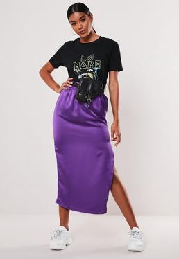 Фиолетовая атласная юбка-миди слип